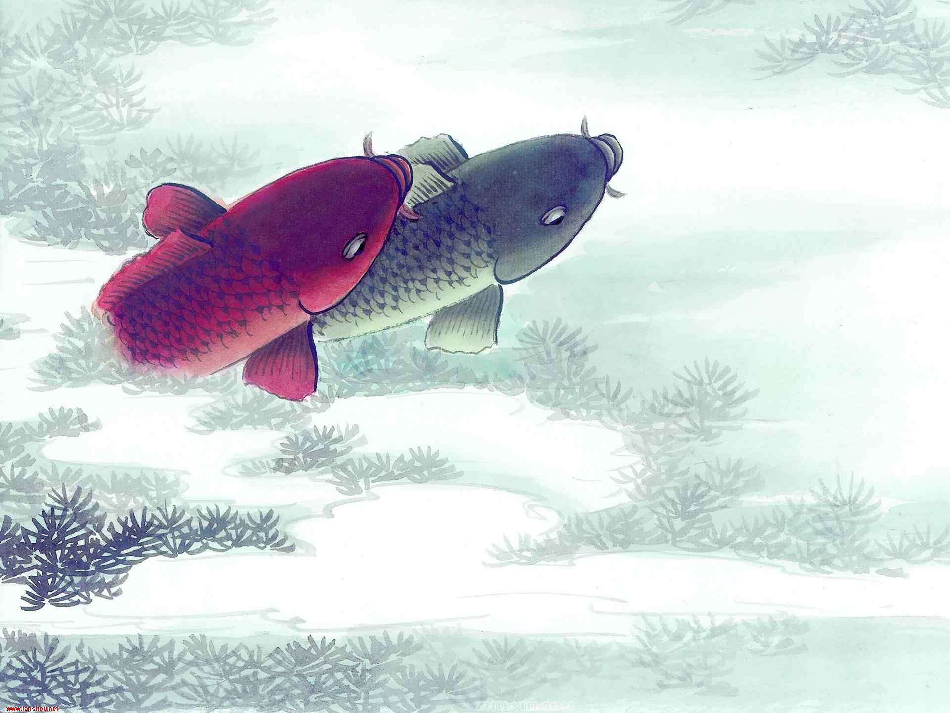中国水墨画 鱼高清晰壁纸